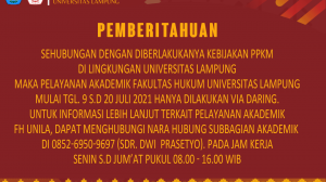 Layanan Akademik FH Unila Selama PPKM
